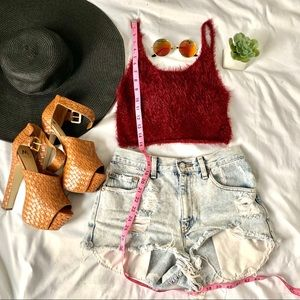 Small red fuzzy sleeveless crop top sweater